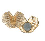 Magnetische broche vlinder 45mm Goud kleurig, vest sluiting, needle minder