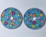 Sondepad rond voor button - blauw met bloemetjes