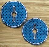 Sondepad rond voor button - blauw met bruine stippen