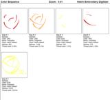 Borduurmachine patroon: Bolletje wol met hartje in 3 kleuren