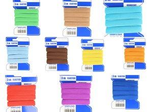 gekleurd blauwe kaart elastiek 3 meter 10 mm breed, kookecht, ideaal voor mondmaskers