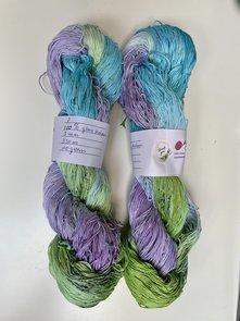 Handgeverfd garen, 100 gram, groen blauw paars kleurnr 7, Legacy