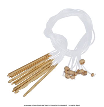 Tunische haaknaalden set van 12 bamboo naalden met 1,2 meter draad