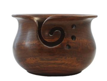 Yarn Bowl hout, scheepjes, teakhout glossy
