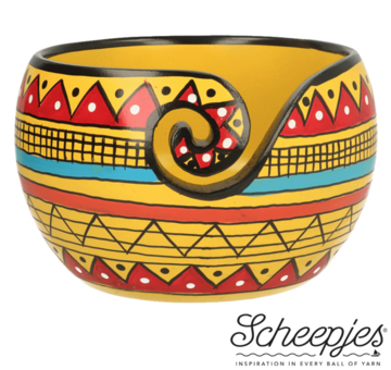 Beschilderde Yarn Bowl Scheepjes Yellow Stripe