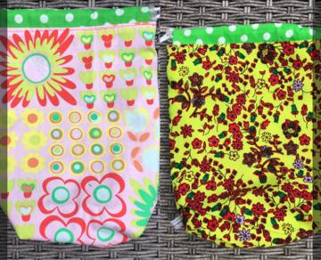 Handwerk project tas klein, yarnbag, omkeerbaar. roze met bkloemen, geel met bloemen
