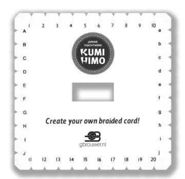 Kumihimo disc loom vierkant