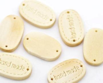 Houten label ovaal Handmade hout