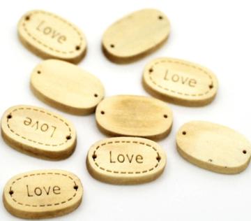 Houten label ovaal Love hout