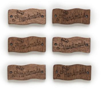 Houten label Handmade Love, vlag