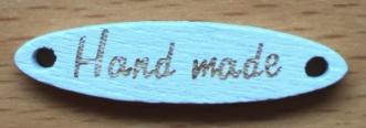 Houten label Handmade wit met gouden letters, ovaal