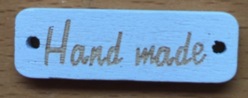 Houten label Handmade wit met gouden letters