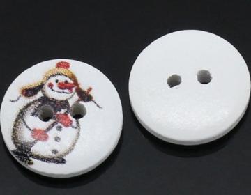 Houten knoopje sneeuwpop met bezem