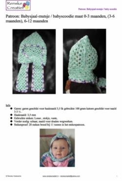 Patroon: Gehaakte baby mutssjaal / babyscoodie