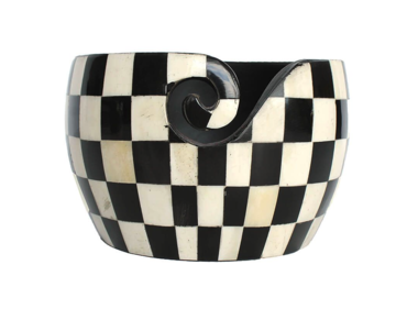 Yarn Bowl Scheepjes zwart wit geruit