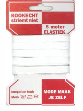 5 meter rode kaart elastiek, 10mm breed