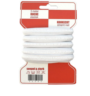 5 meter rode kaart ruche elastiek, 10mm breed, kookvast