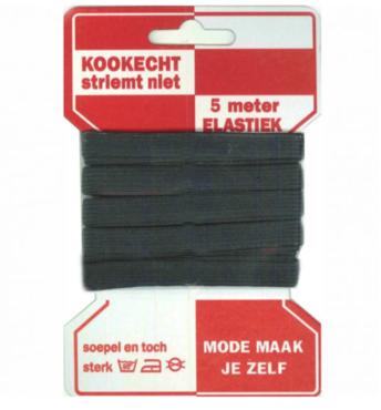 5 meter rode kaart elastiek, 10mm breed, zwart