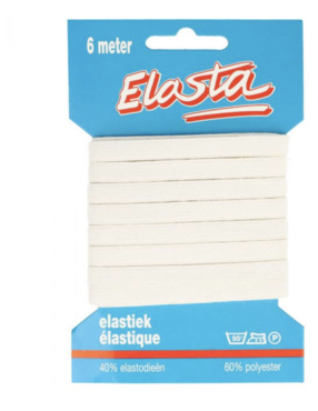 Elesta Elastiek gebreid 8mm wit, kookwas elastiek