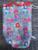 Handwerk project tas klein, yarnbag, omkeerbaar. gestreept, grijs met bloemen, rood met bloemen