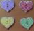 Houten knoopje hart met zigzag