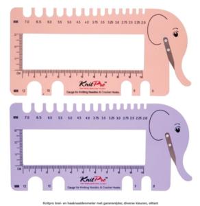 Knitpro brei- en haaknaaldenmeter met garensnijder, diverse kleuren, olifant
