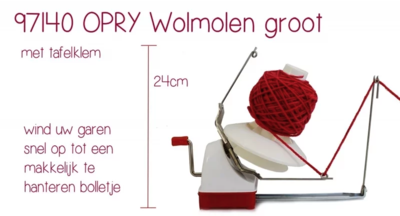 Wolwinder / wolmolen Opri groot met tafelklem
