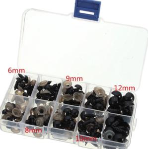 Doosje gevuld met 100 Veiligheidsoogjes 6, 8, 9, 10, 12 mm zwart