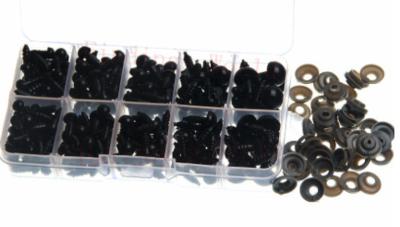 Doosje gevuld met 240 Veiligheidsoogjes 6, 7, 8, 10, 12 mm zwart