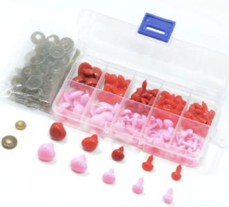 Doosje gevuld met 100 Veiligheidsneusjes 8 - 15 mm roze en rood
