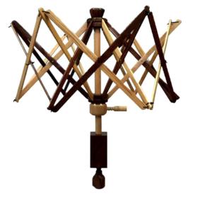 Wolwinder parapluhaspel Scheepjes 2 kleuren hout
