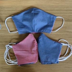 Genaaid mondkapje, mondmasker met ruimte voor filter, Biologisch katoen, model 1, roze-lila, met elastiek