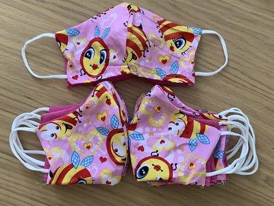 Kinder mondkapje, mondmasker met ruimte voor filter, katoen, roze bijtjes met elastiek