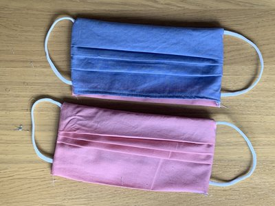 Genaaid mondkapje, mondmasker met ruimte voor filter, Biologisch katoen, model FOD, Roze - lila, elastiek