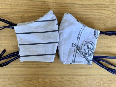 Genaaid mondkapje, mondmasker met ruimte voor filter, katoen, grijs met 2 kanten een print, bandjes