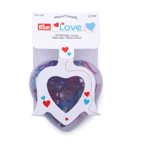 Prym Love stof clips 2,6cm 40 stuks, hartjes doosje, wonderclips