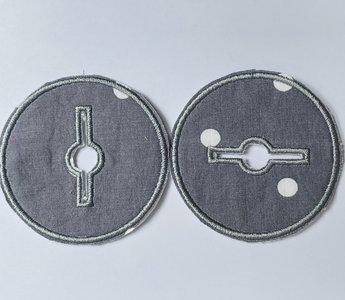 Sondepad rond voor button - grijs met witte stippen