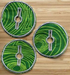Sondepad rond voor button - groen met licht groene strepen