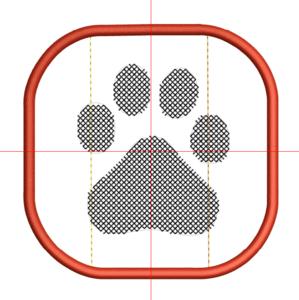 Borduurmachine patroon: Onderzetter hondenpoot