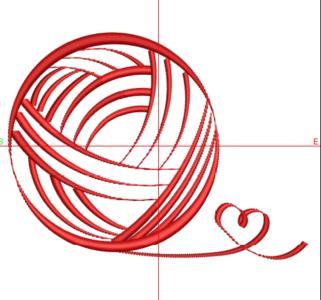 Borduurmachine patroon: Bolletje wol met hartje