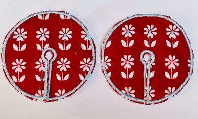 Sondepad rood met witte bloemen